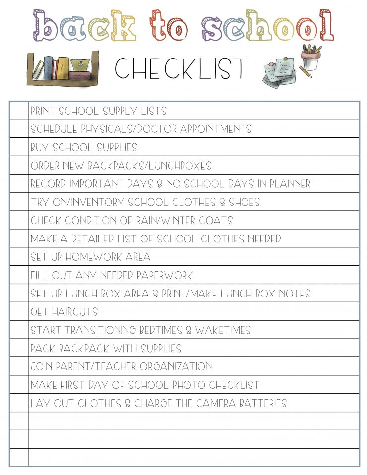 Back To School Checklist Free Printable