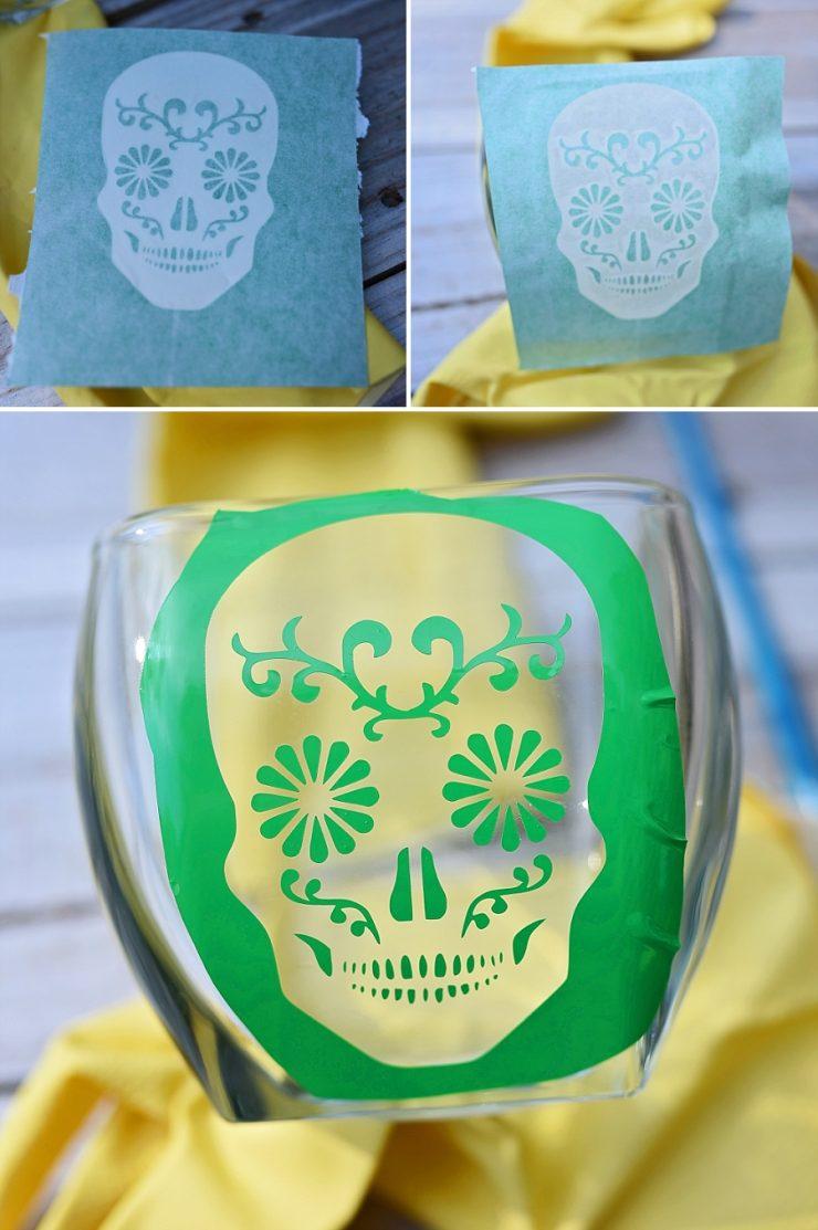 Sugar Skull Etched Glass