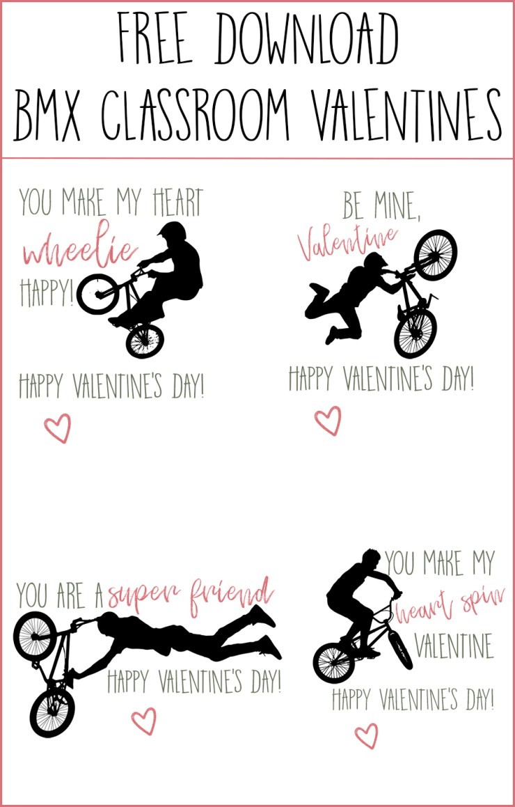 BMX Classroom Valentines   Free Download