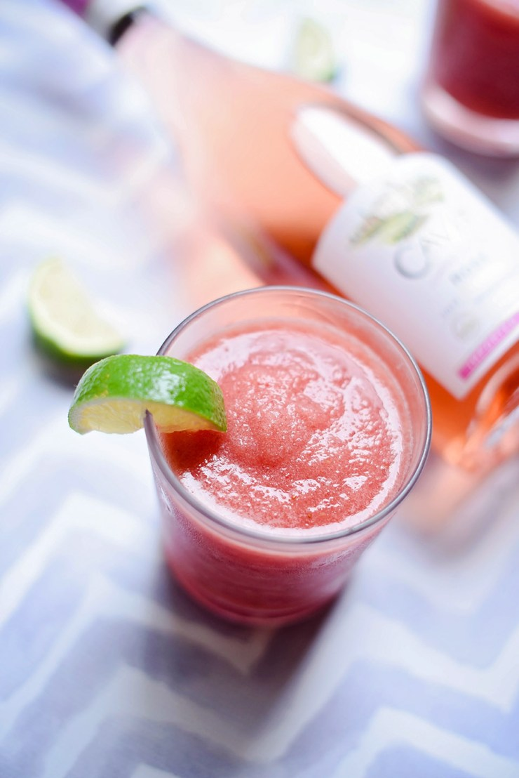 Strawberry Lime Frosé {Frozen Rosé}