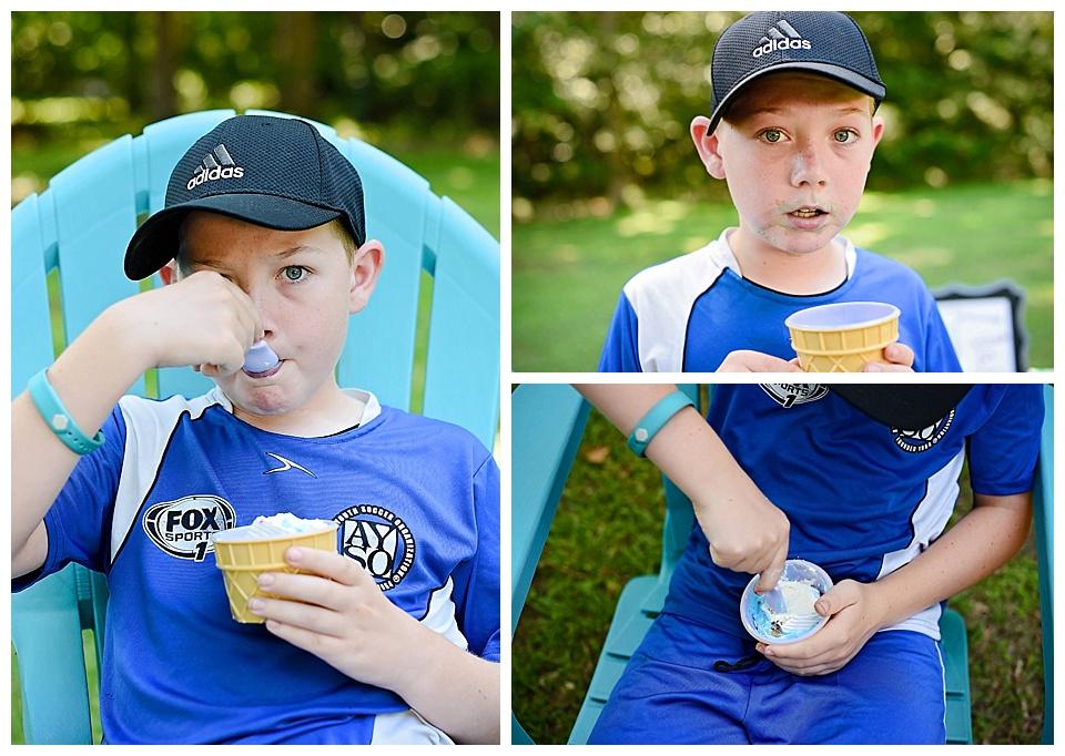 Dustyn eating his ice cream cake