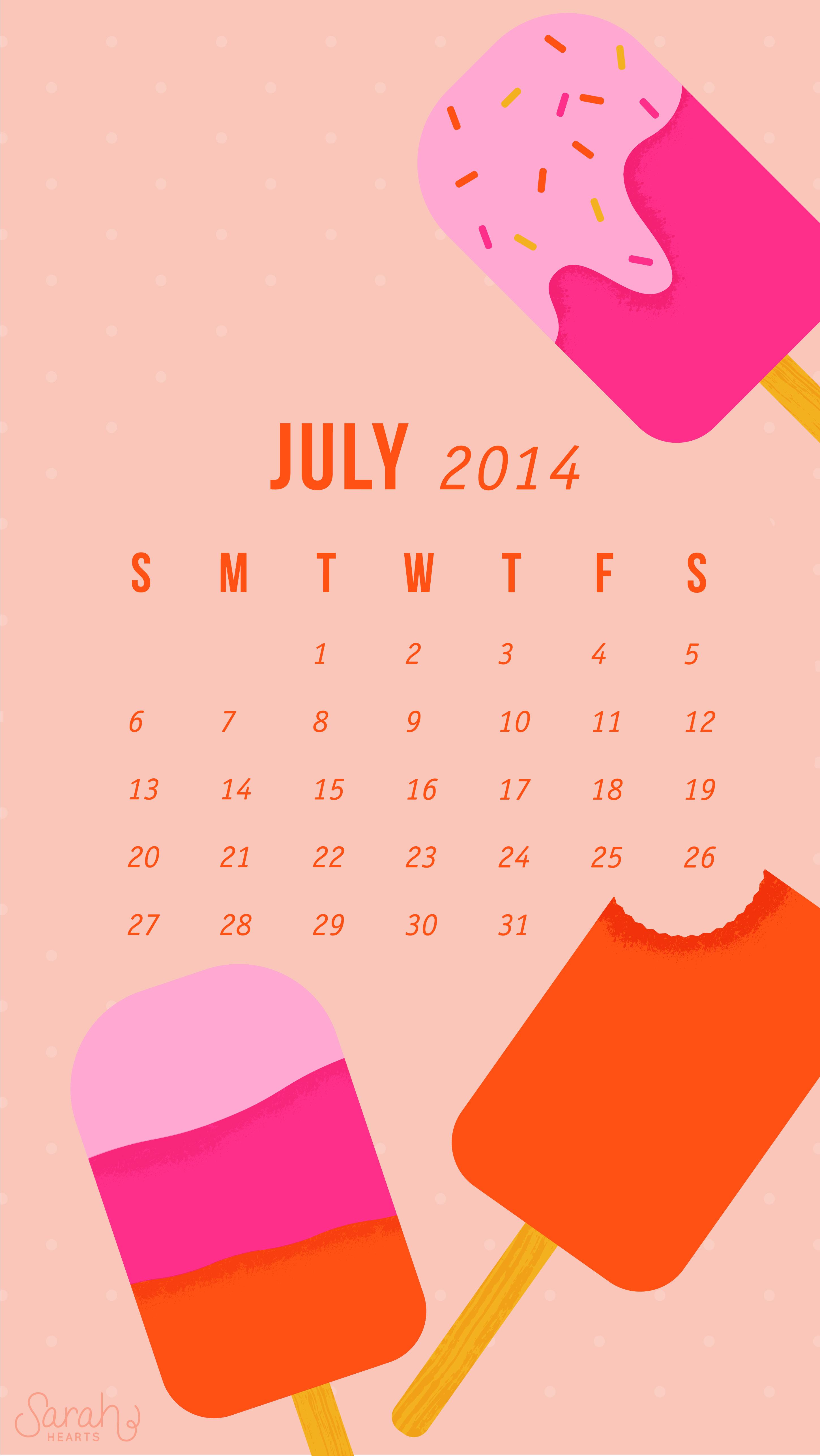 Cute Popsicle Wallpaper July 2014 Calendar Wallpaper Sarah Hearts