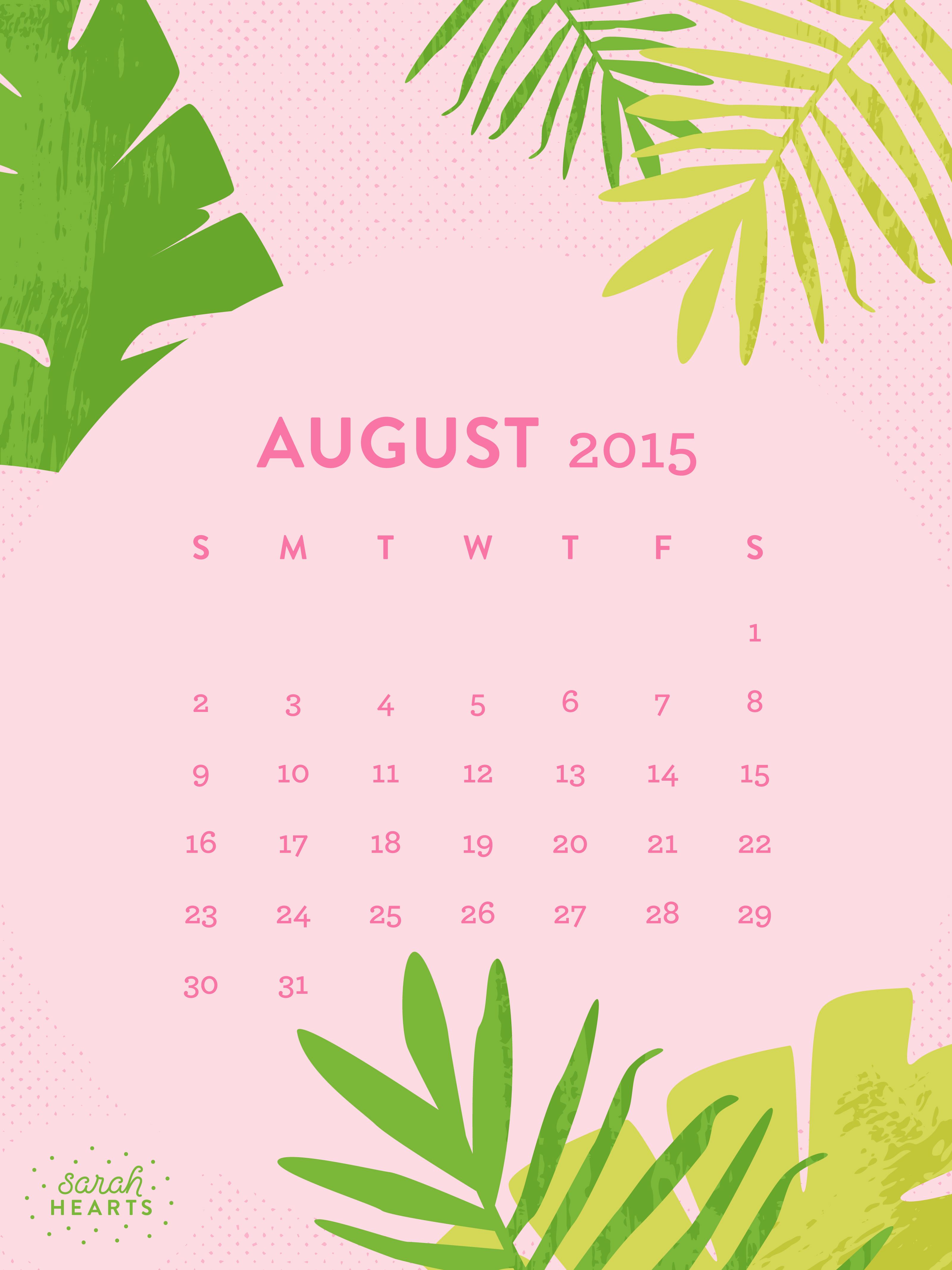 Cute Happy Wallpapers August 2015 Calendar Wallpaper Sarah Hearts