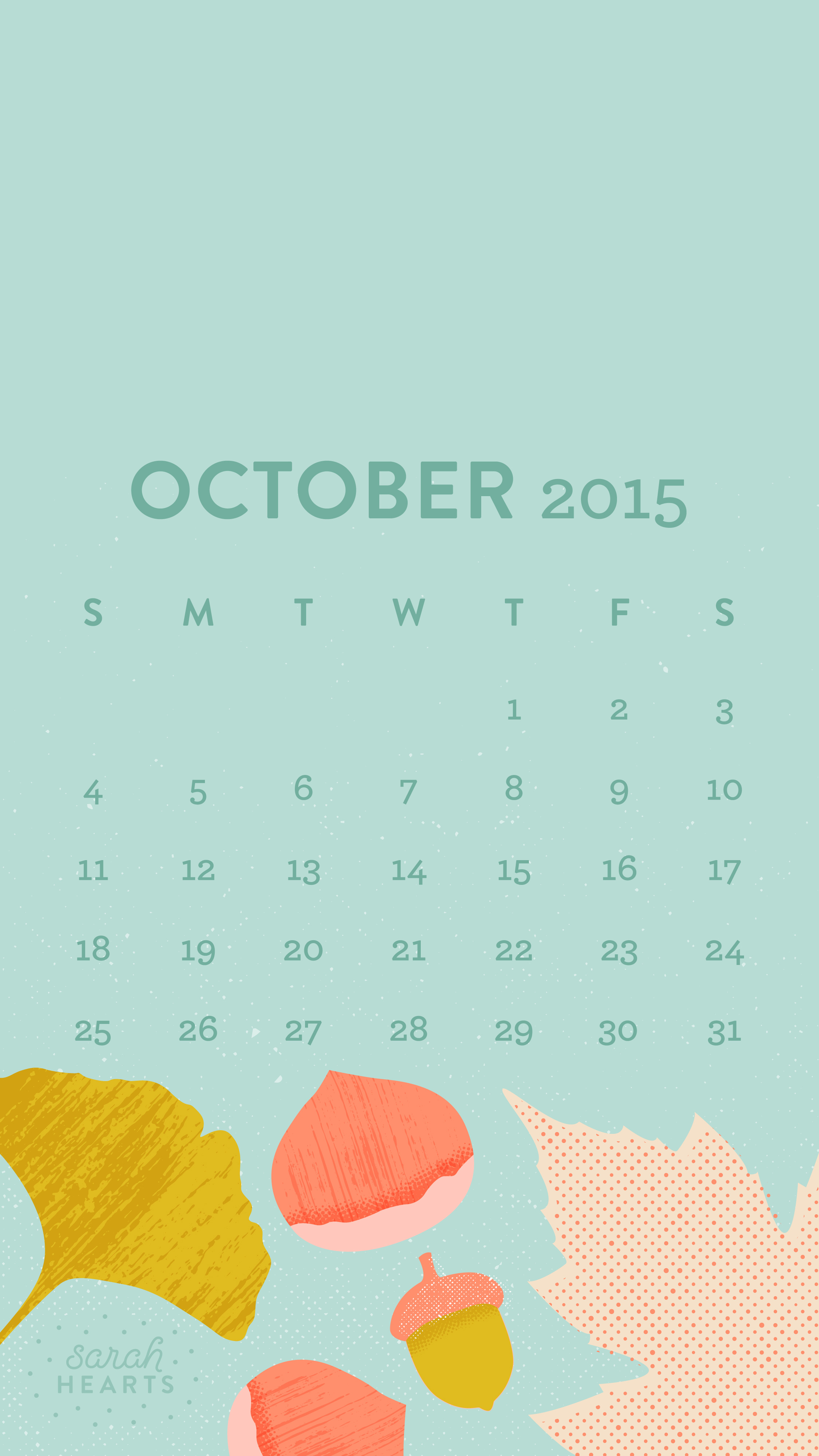 October 2015 Calendar Wallpaper Sarah Hearts