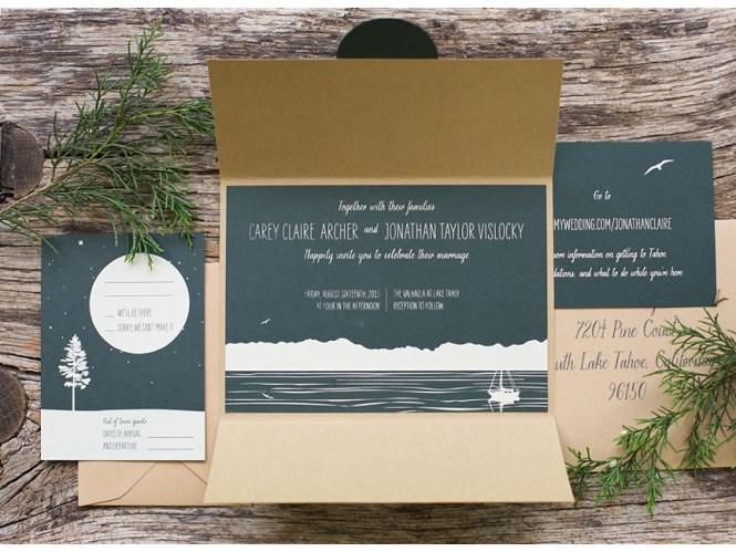Lake Tahoe Custom Wedding Invitations Sarah Jane Winter