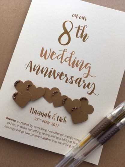 each card is personalised with names and date