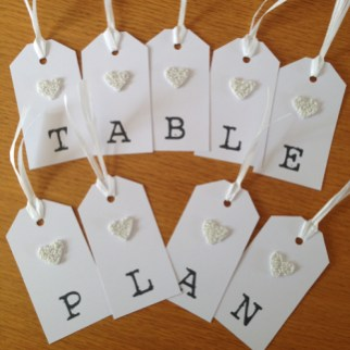 Beaded heart table plan tags