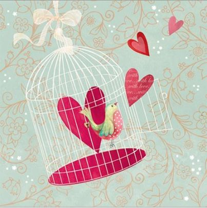 bird cage valentine day cards