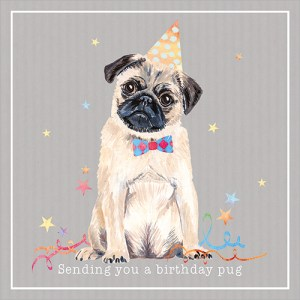 Birthday Pug Card from Flamingo Paperie