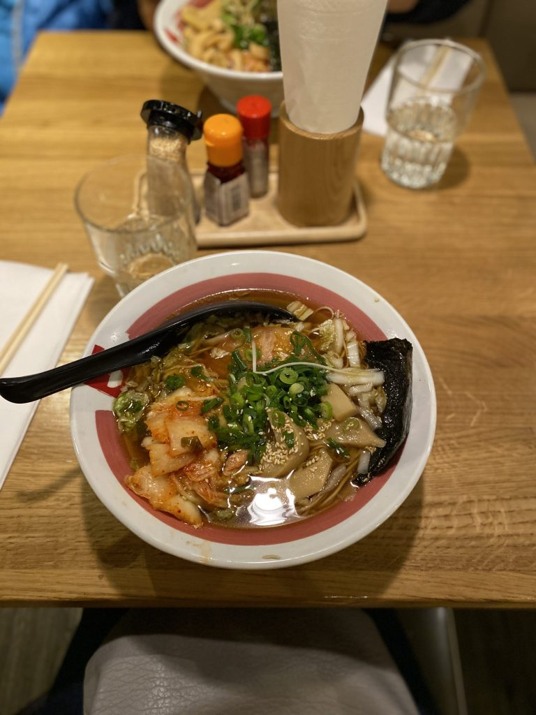 Vegan Amsterdam: veggie ramen, no egg, add kimchi at Ramen-Ya