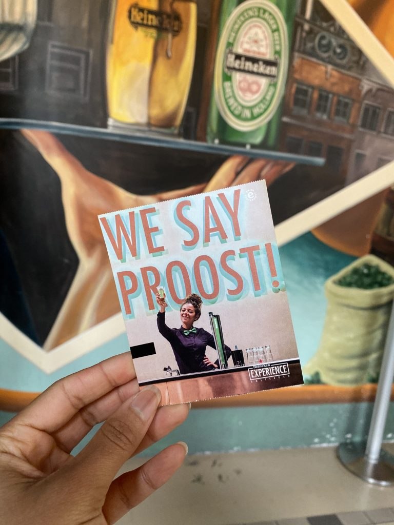 "Heineken Experience Amsterdam: ticket with text ""We Say Proost!"""