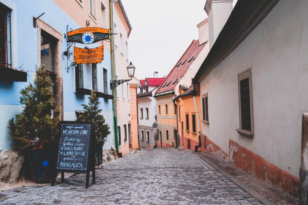 winding side street in Bratislava, Slovakia