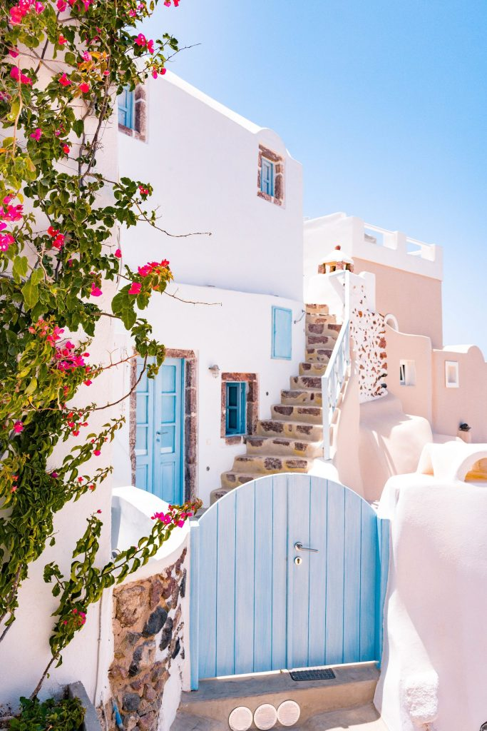 Cycladic house in Oia, Greece, with pink flowers