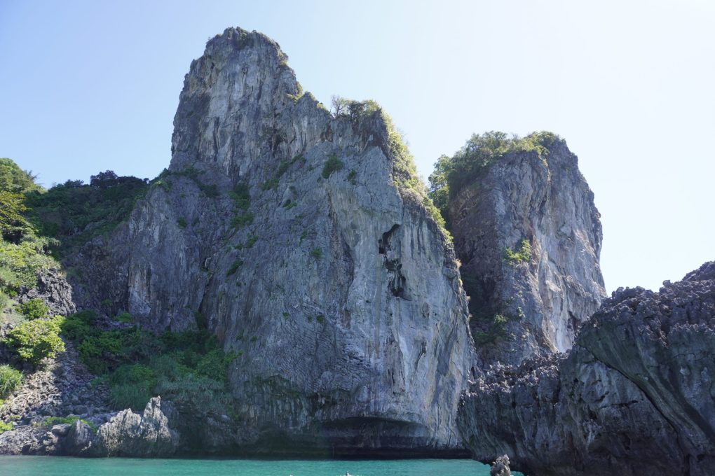 rock mountains on a lagoon of the Phi Phi Islands, Thailand