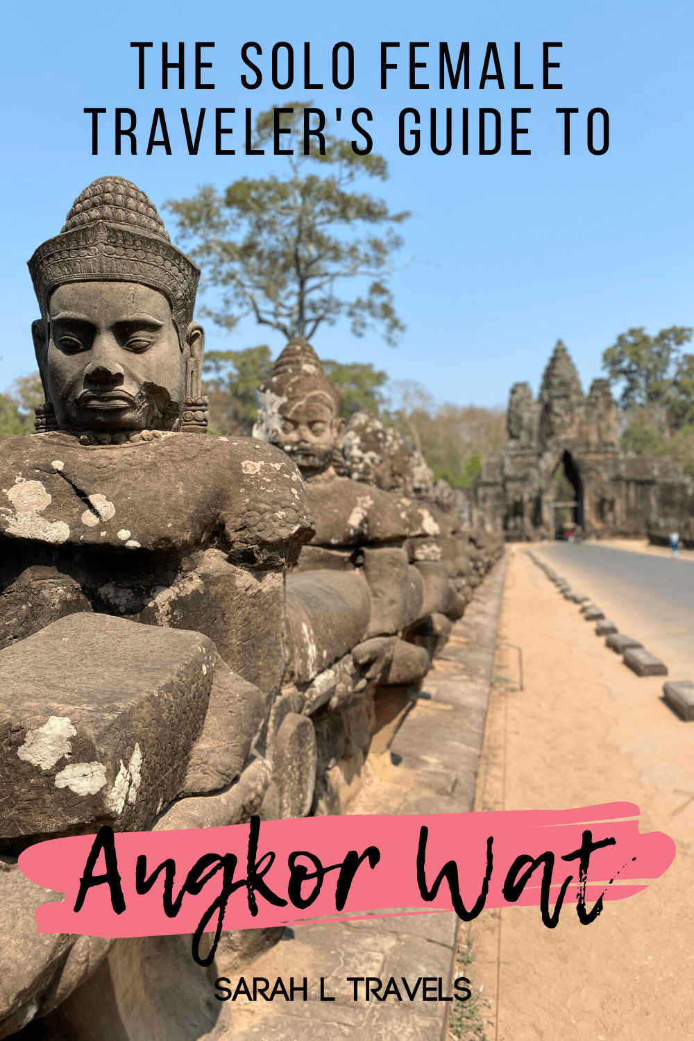 "Rock soldiers with text ""The Solo Female Traveler's Guide to Angkor Wat"""