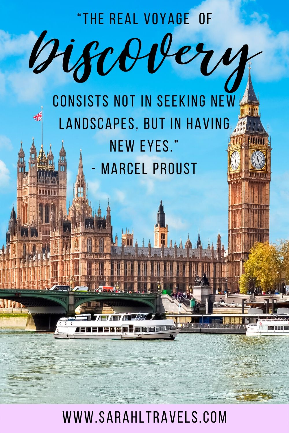 """Westminster Abbey in London with quote """"The real voyage of discovery consists not in seeking new landscapes, but in having new eyes."""""""