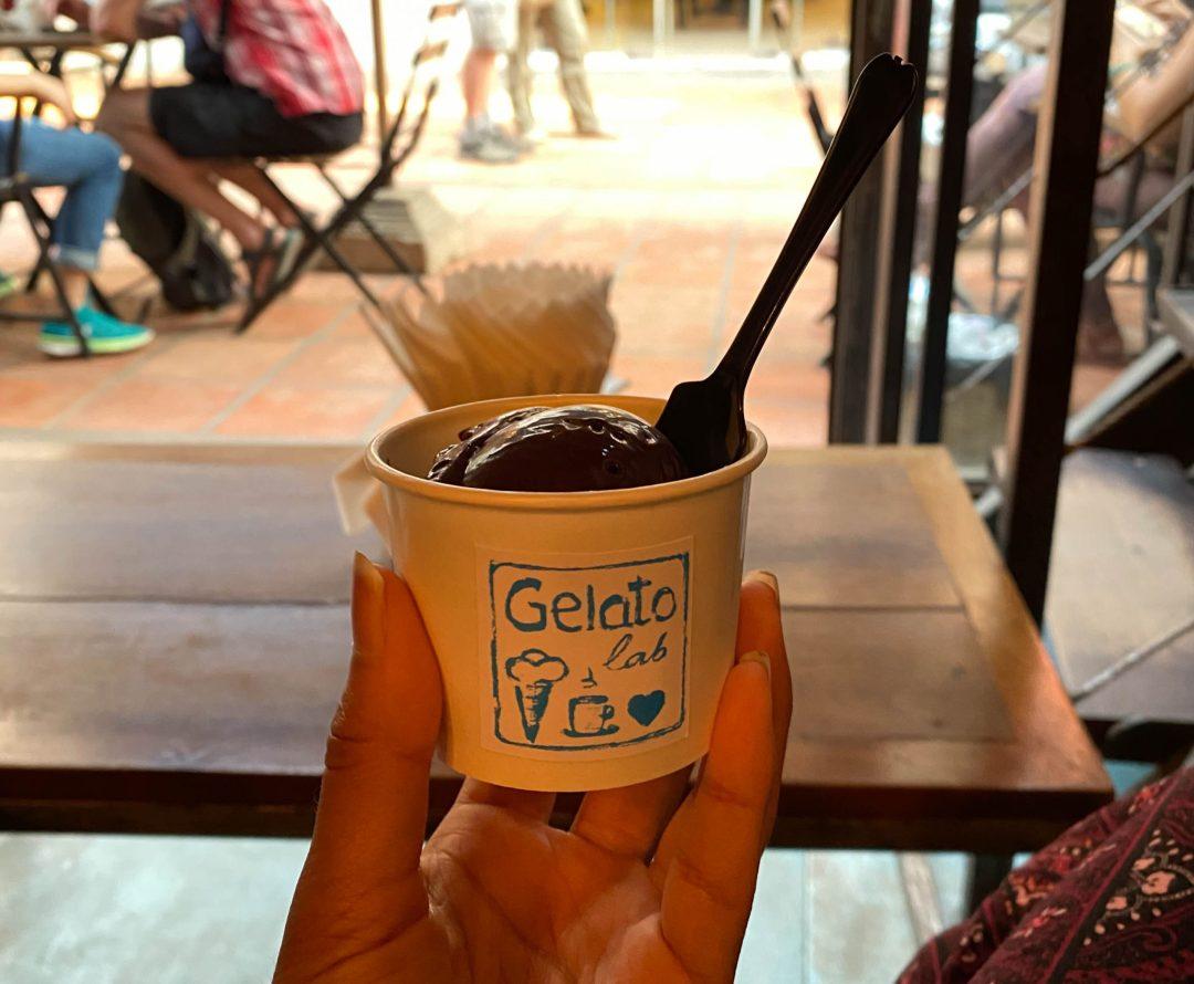 Vegan dark chocolate gelato from Gelato Lab in Siem Reap, Cambodia