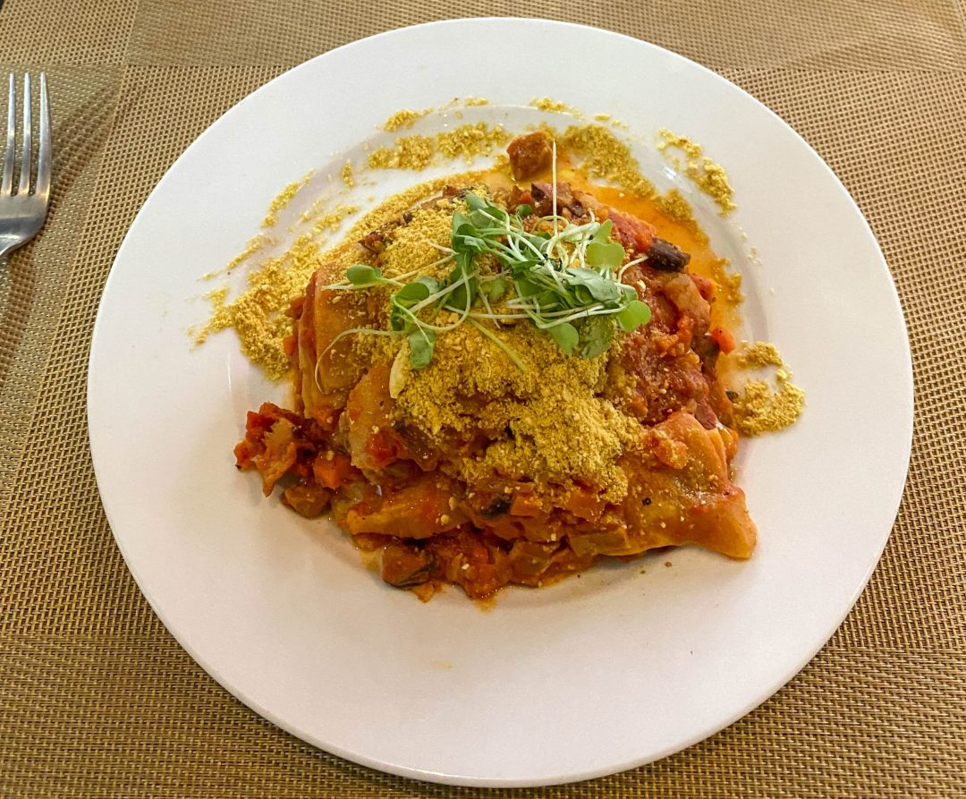 Vegan lasagna from La Pasta in Siem Reap, Cambodia