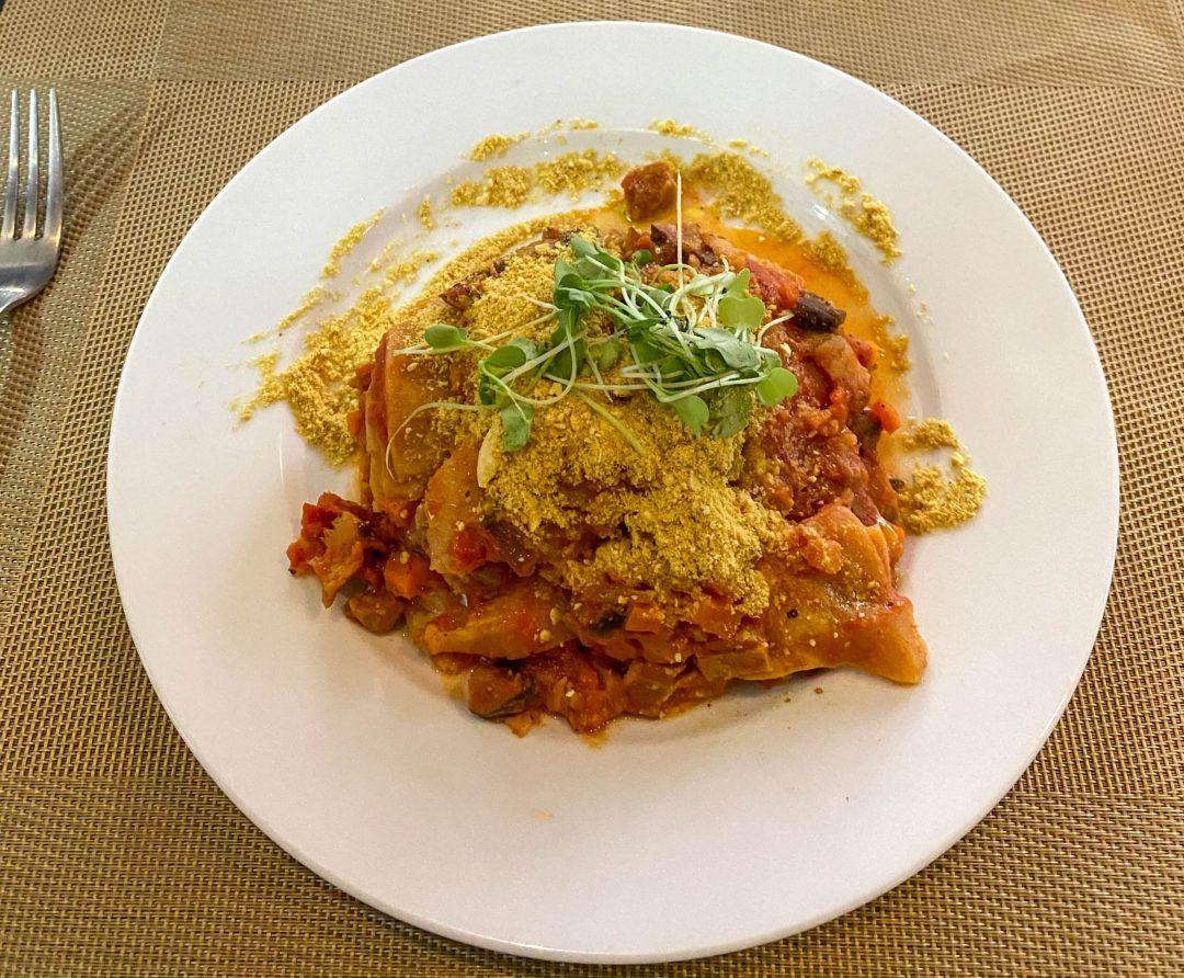Vegan lasagna from La Pasta in Siem Reap, Cambodia
