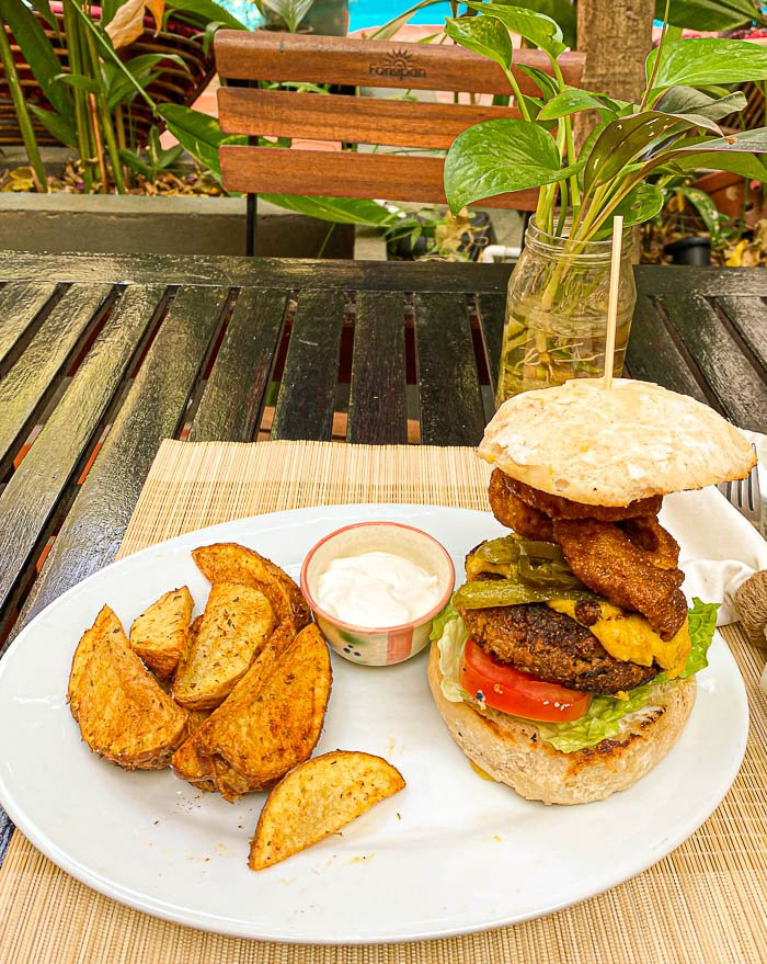 Veggie burger with fries from Bong Bonlai in Phnom Penh, Cambodia