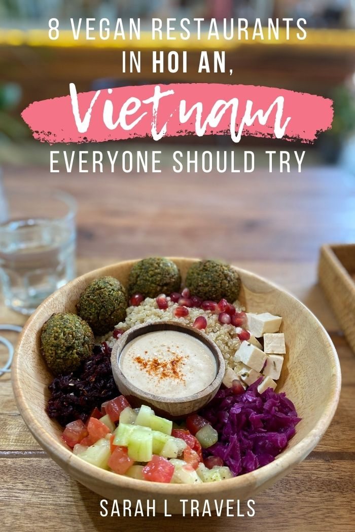 """Falafel bowl with vegetables and text overlay """"8 Vegan Restaurants in Hoi An Everyone Should Try"""""""