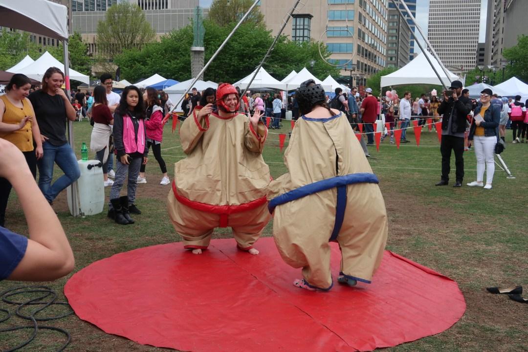 Sumo suit wrestling at the Nashville Cherry Blossom Festival 2019