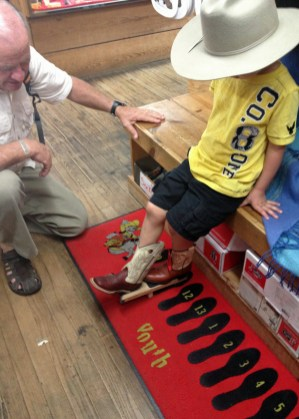 Trying on REAL cowboy boots.