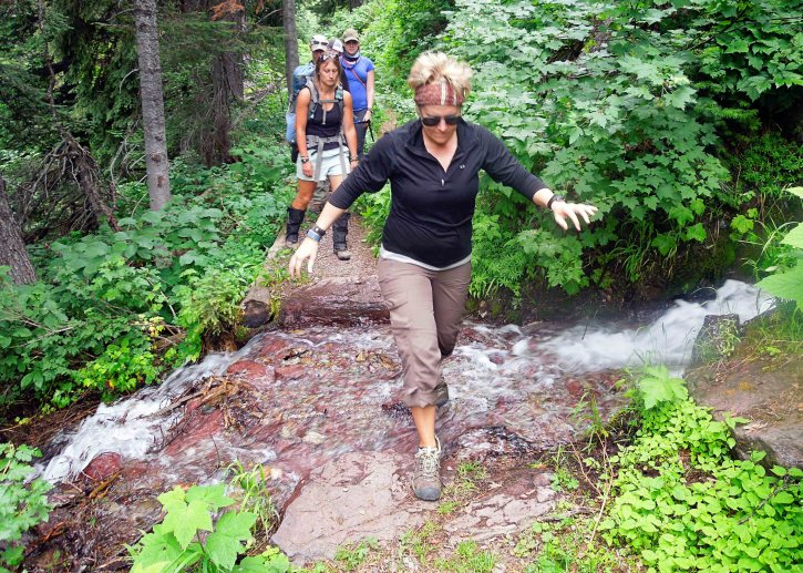 Small water crossing on the trail. Much easier to balance without a pack!