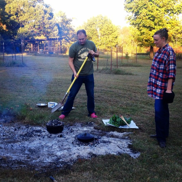 "Slaving over the ""stove""."
