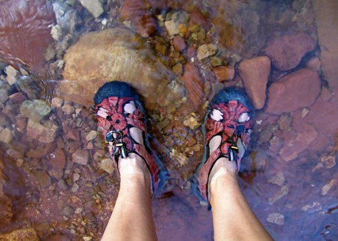 River crossing wearing KEENs {Photo: Grand Canyon, 2012}