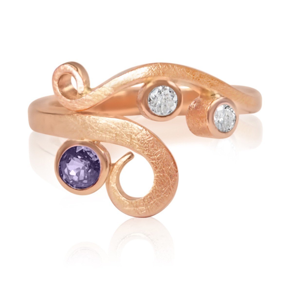 Classic Curl Ring: 9ct Red Gold with Purple & White Sapphires