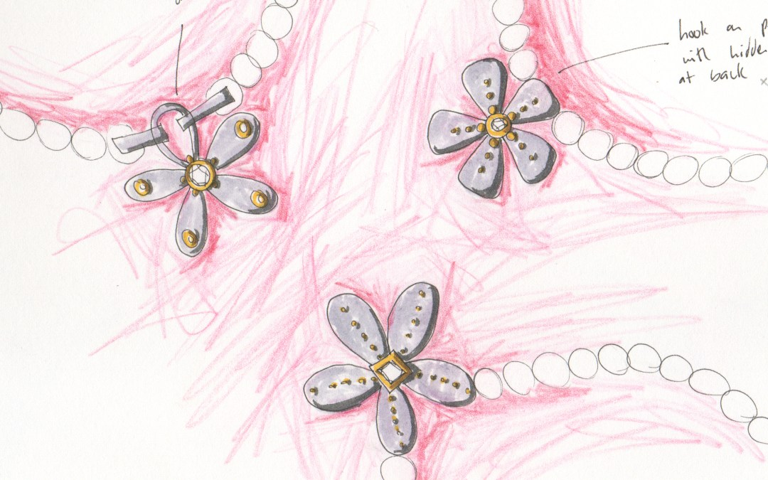 Pearl Necklace Drawings with Flower Clasps, Pinks
