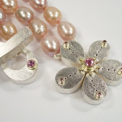 Marys Pink Pearl Flower Necklace