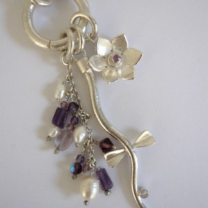 Silver Charm Set with Flower Stem and Fringe