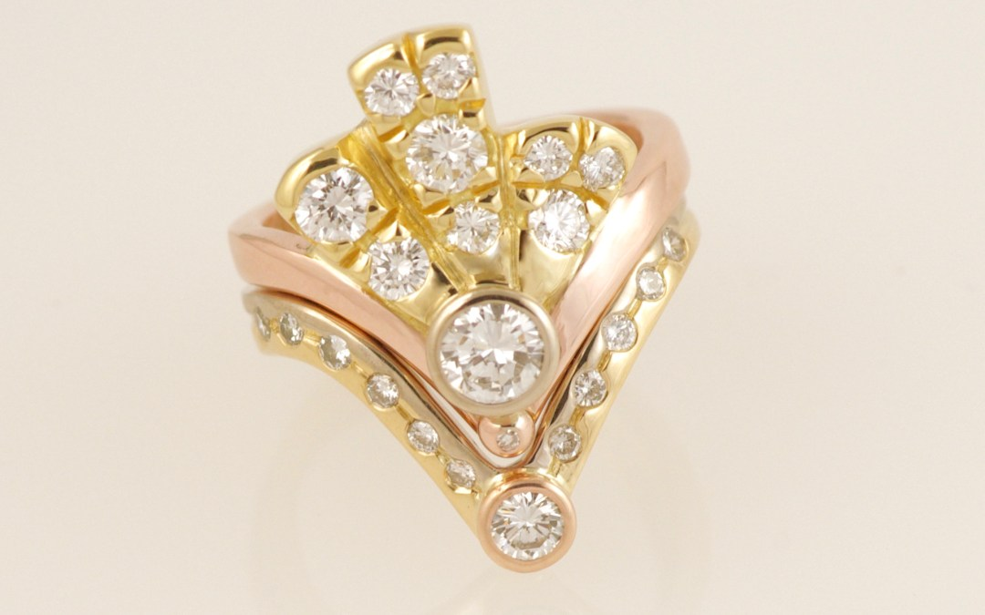 Alices Three Colour Gold Art-Deco Diamond Fan Ring Set