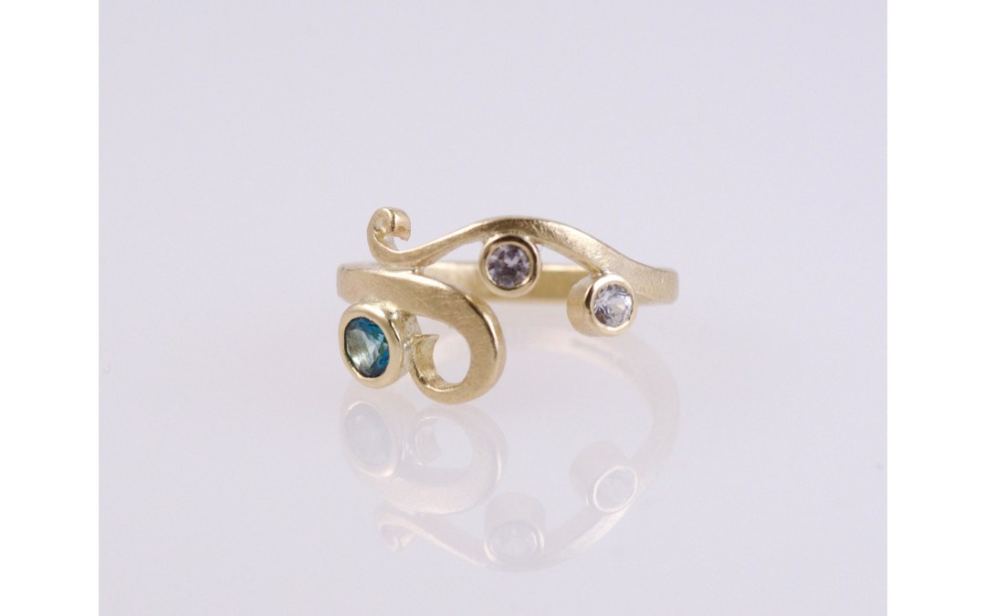 Classic Curl Ring In Aqua Blue