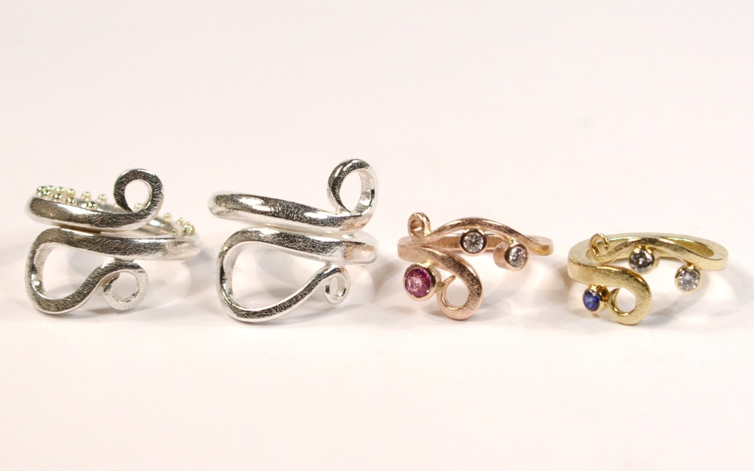 Curl Ring Family – Precious Metals & Coloured Gemstones