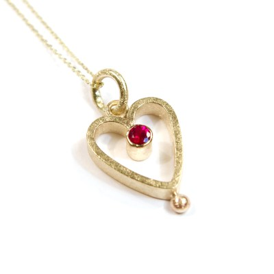 Gold Heart Bobble Pendant: 9ct Yellow, Small Heart, Ruby