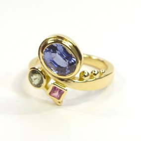 Nuala's Gold Curl Ring With Multi-Coloured Sapphires 5