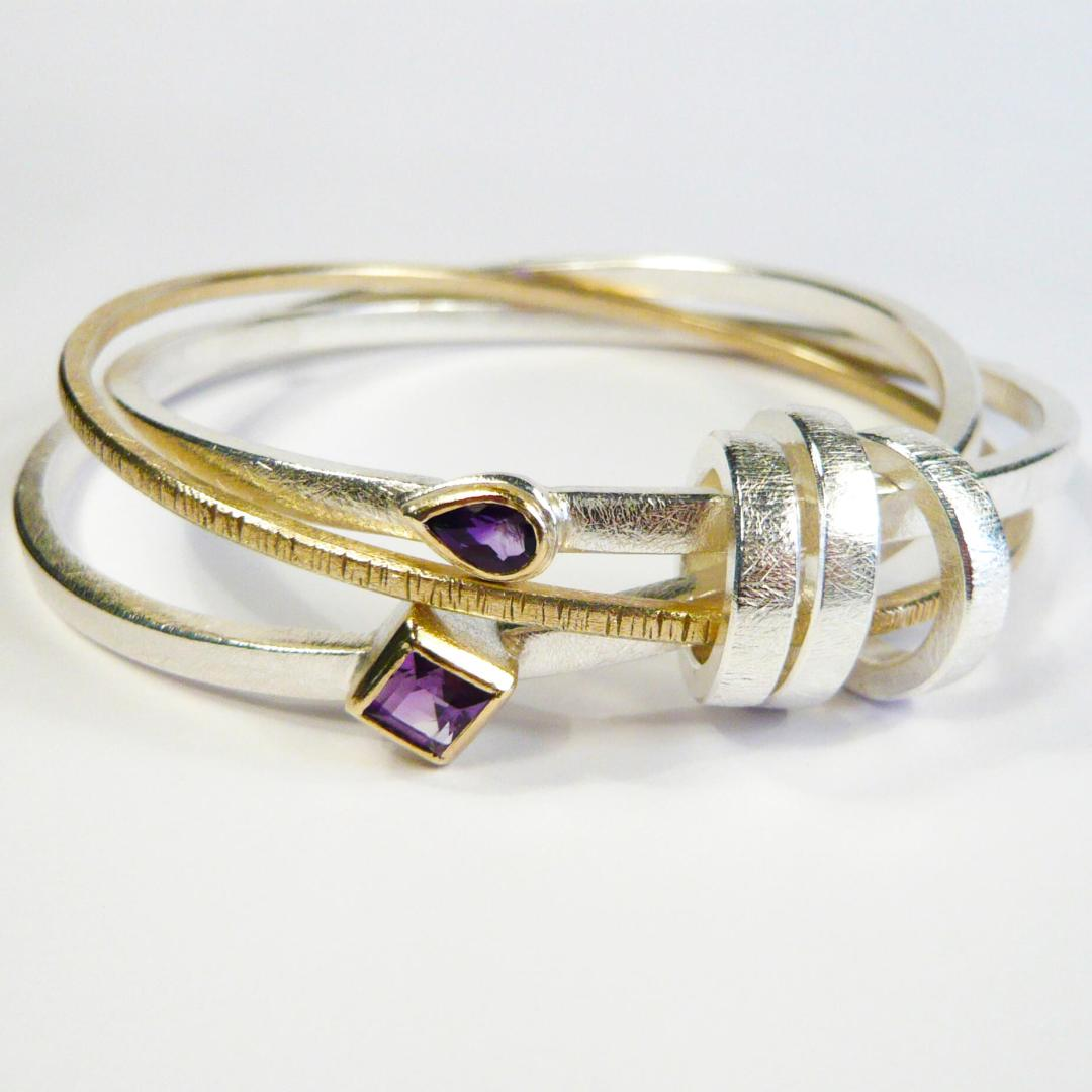 Victorias Bangle in Silver, 9ct Yellow Gold & Amethysts