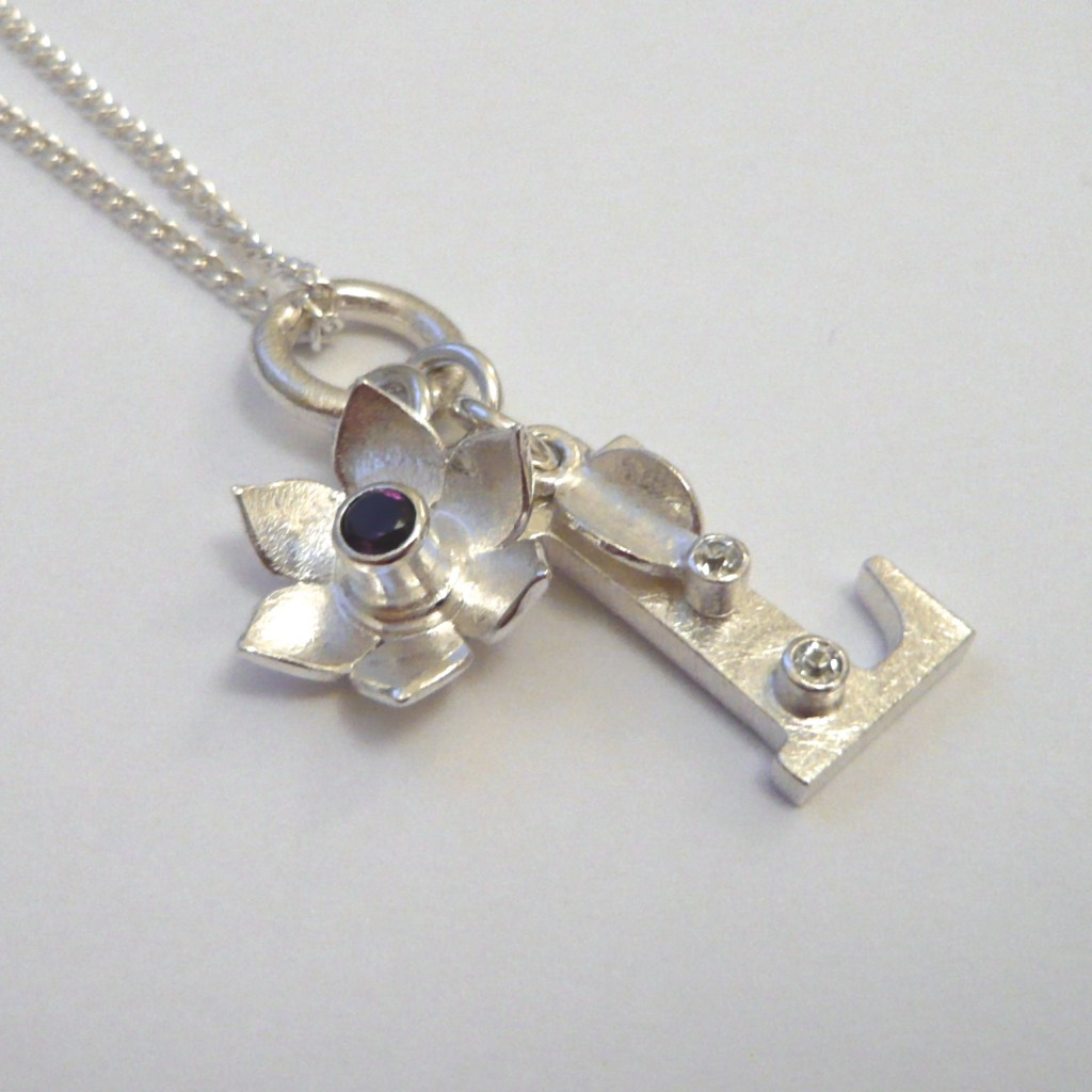 Silver Baby Charm Necklace Initial Flower