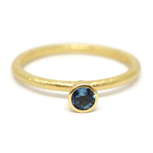 41b7565b1eb91 Shaped | 18ct Yellow Gold Stacking Rings | Skinny Band With Tall Cone And  Blue Topaz