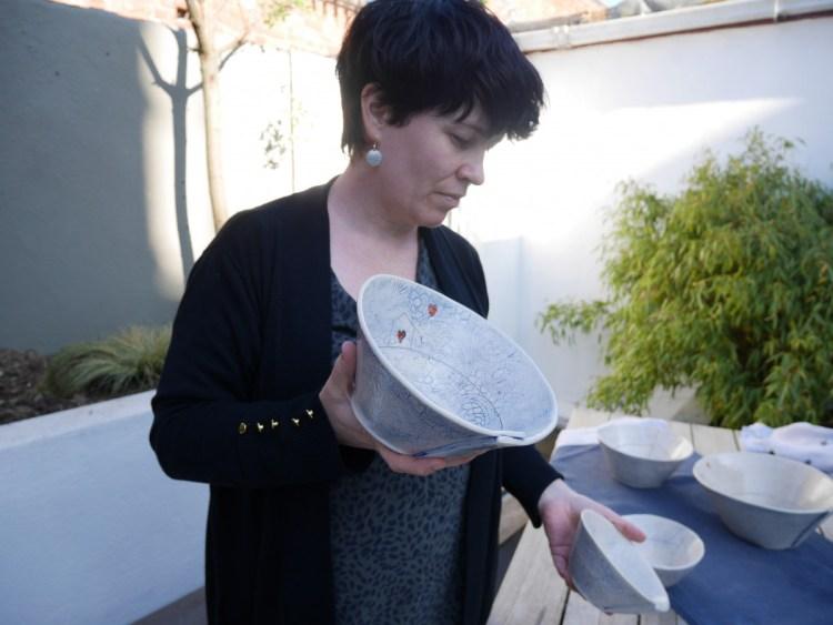 medium small bowl in sarah's hand
