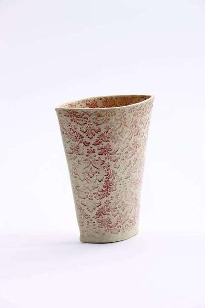 Impressed Bouquet Vase - ruby