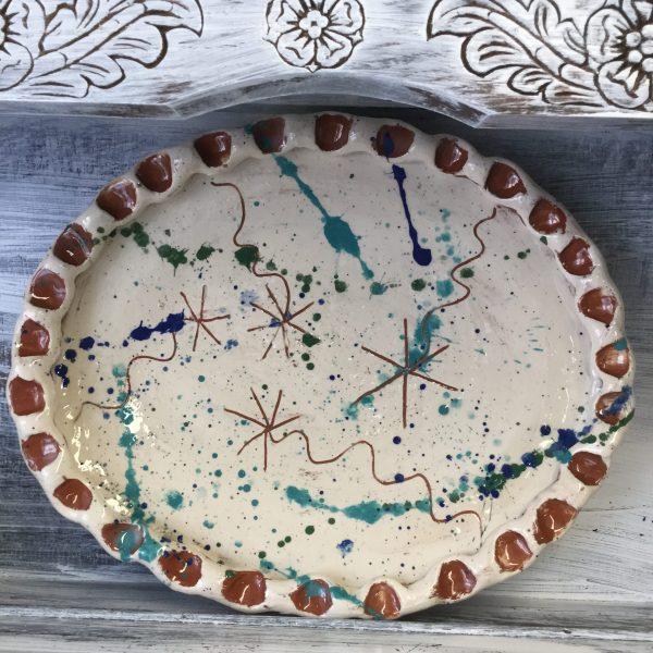 Oval platter hand made by sarah monk ceramics at eastnor pottery ledbury leading slipware potter uk