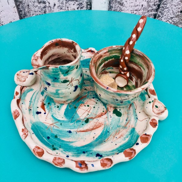teal and white slipware tea tray jug sugarbowl spoon by sarah monk