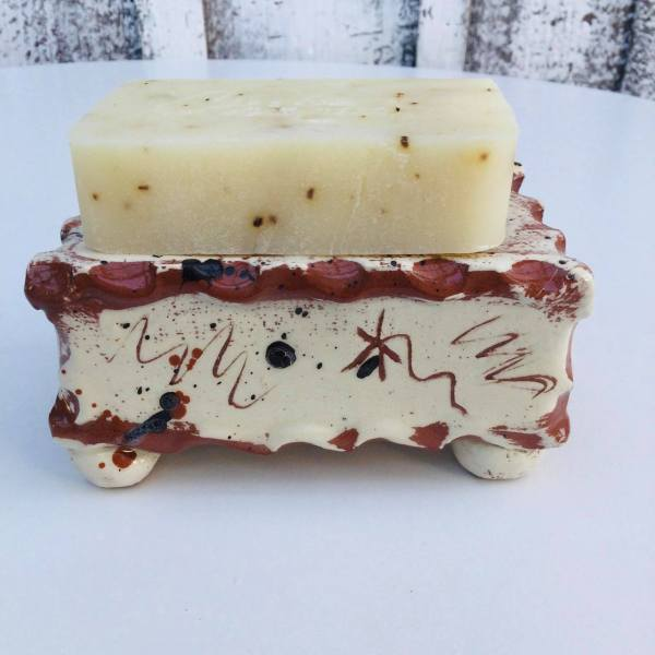 brown slab soap dish with soap on top side view by sarah monk ceramics