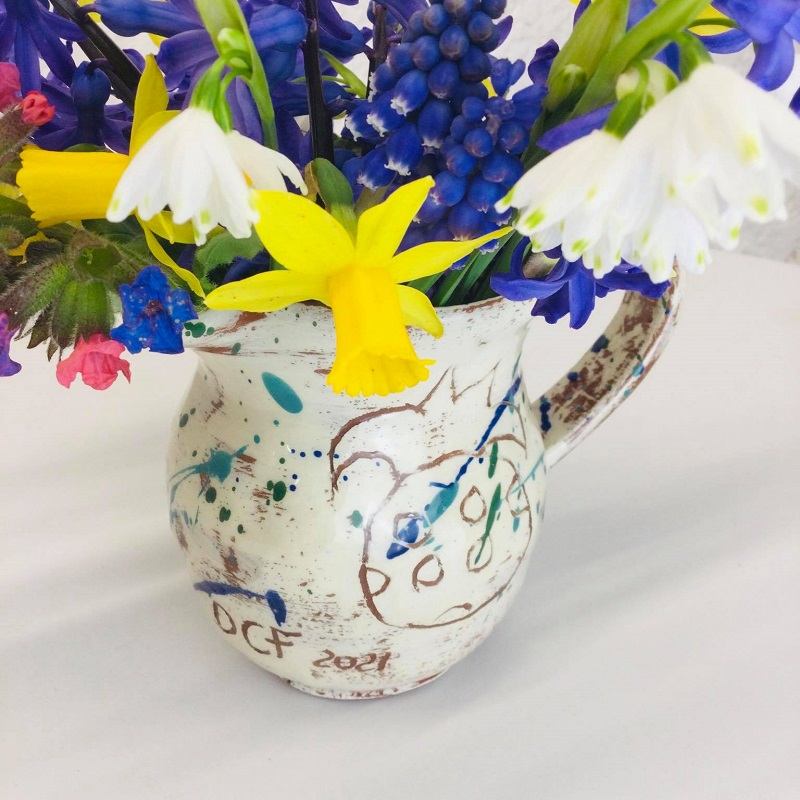 close up of flowers from my mum's garden in a sarah monk ceramics jug