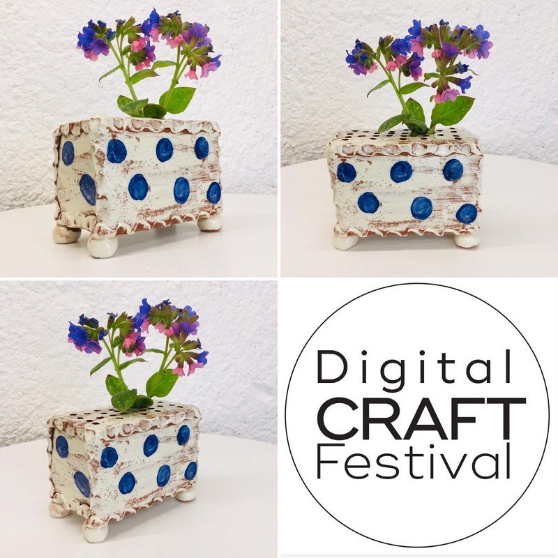 slipware slab built flower brick in white with blue dots by sarah monk ceramics plus layout with dcf logo l