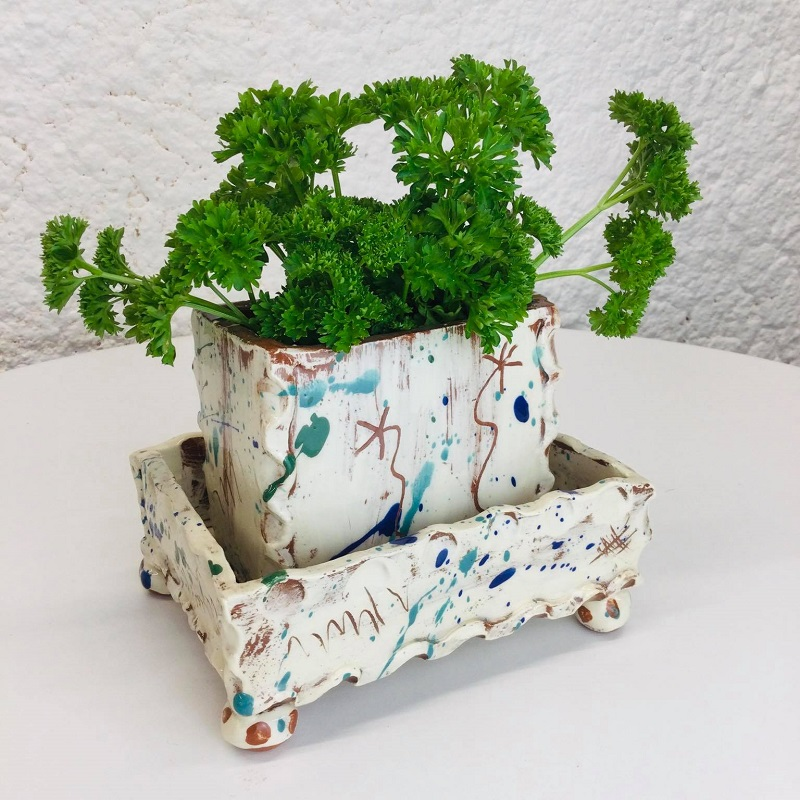 Kitchen herb planter and tray by Sarah Monk with fresh parsley in the top